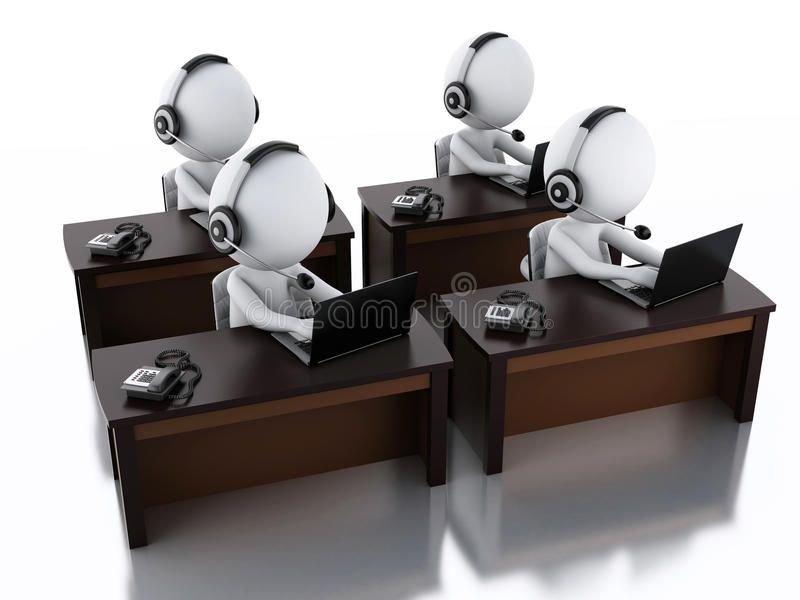 3d white people with a Headphones with Microphone and laptop. 3d image. White people with a Headphones with Microphone and laptop. Employees working in a call stock illustration