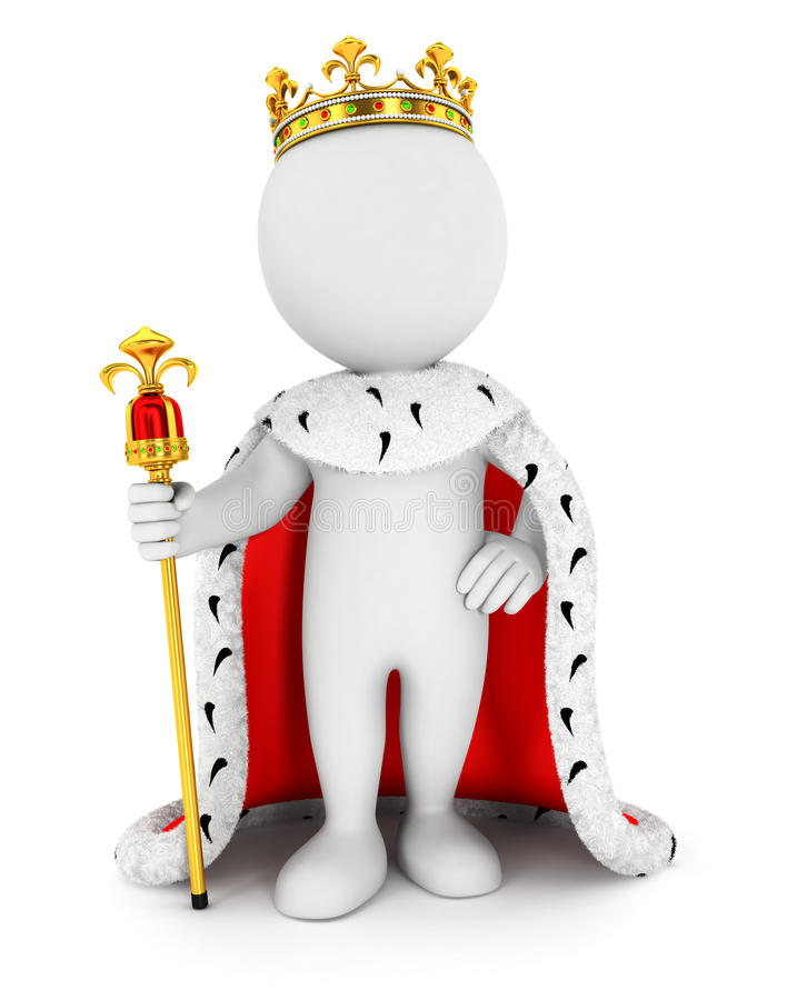 3d white people king. White background, 3d image royalty free illustration