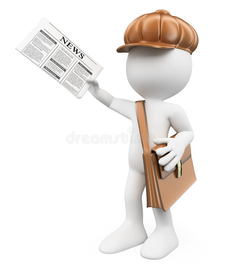 3D white people. Latest news concept. Paperboy stock illustration