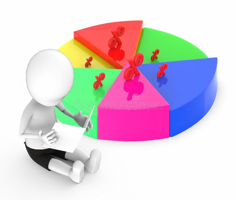 3d white people looking at a paper he holding and sitting on the ground next to a pie chart with percentage sing over it slices stock illustration