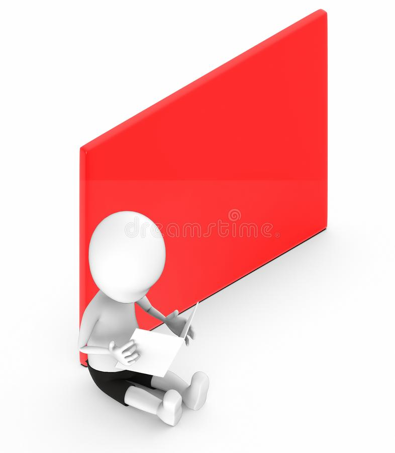 3d white people looking at a paper he hold while sitting on the ground next to a red empty banner board vector illustration