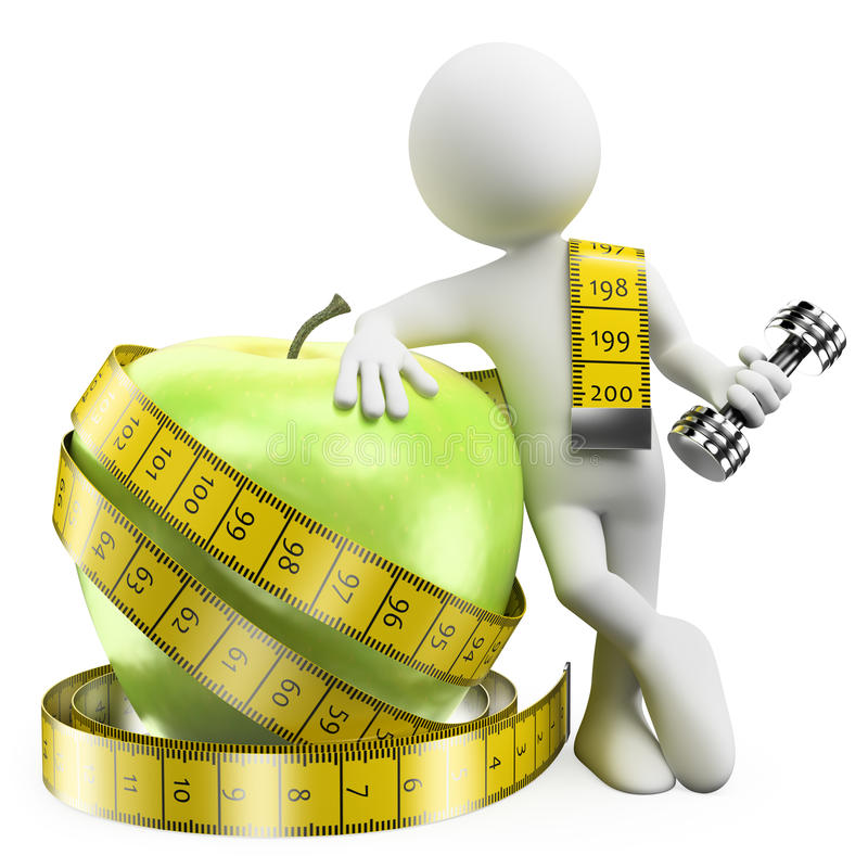 3D white people. Lose weight with sport and healthy food royalty free illustration