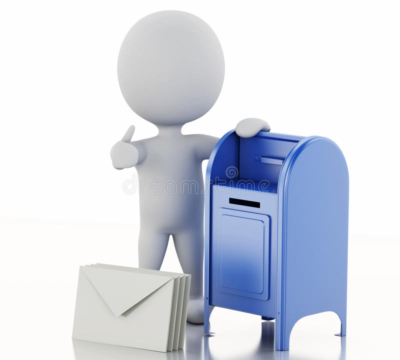 3d white people with mail box and heap of letters. 3d illustration. White people with mail box and heap of letters. Isolated white background royalty free illustration