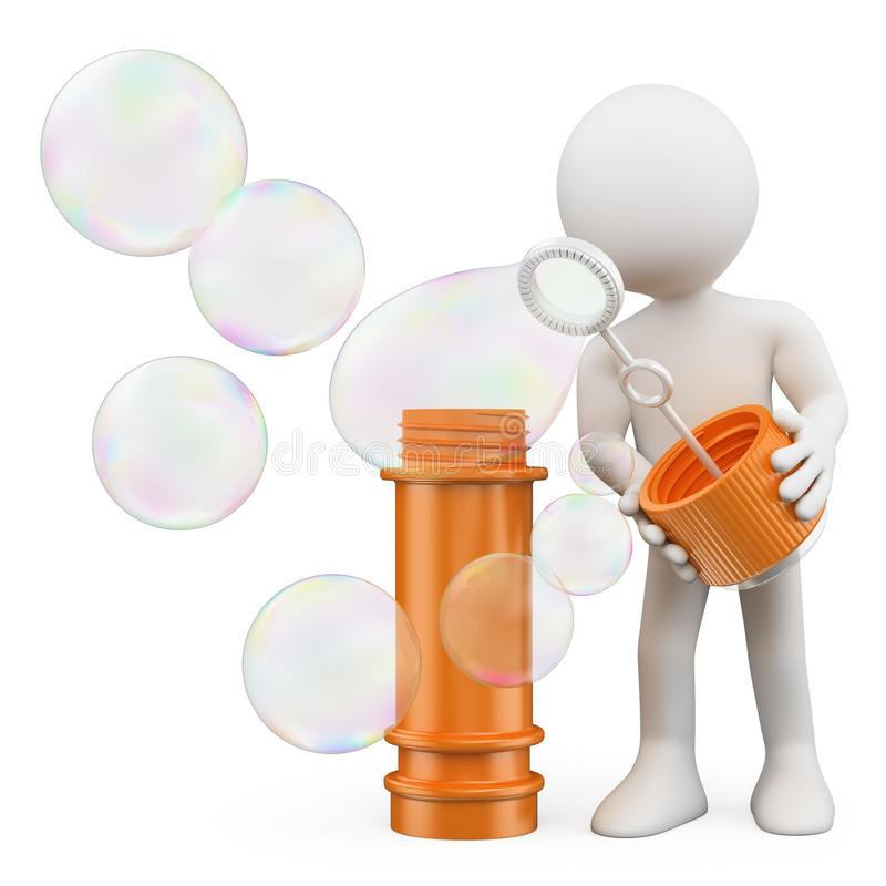 3D white people. Man blowing soap bubbles royalty free illustration