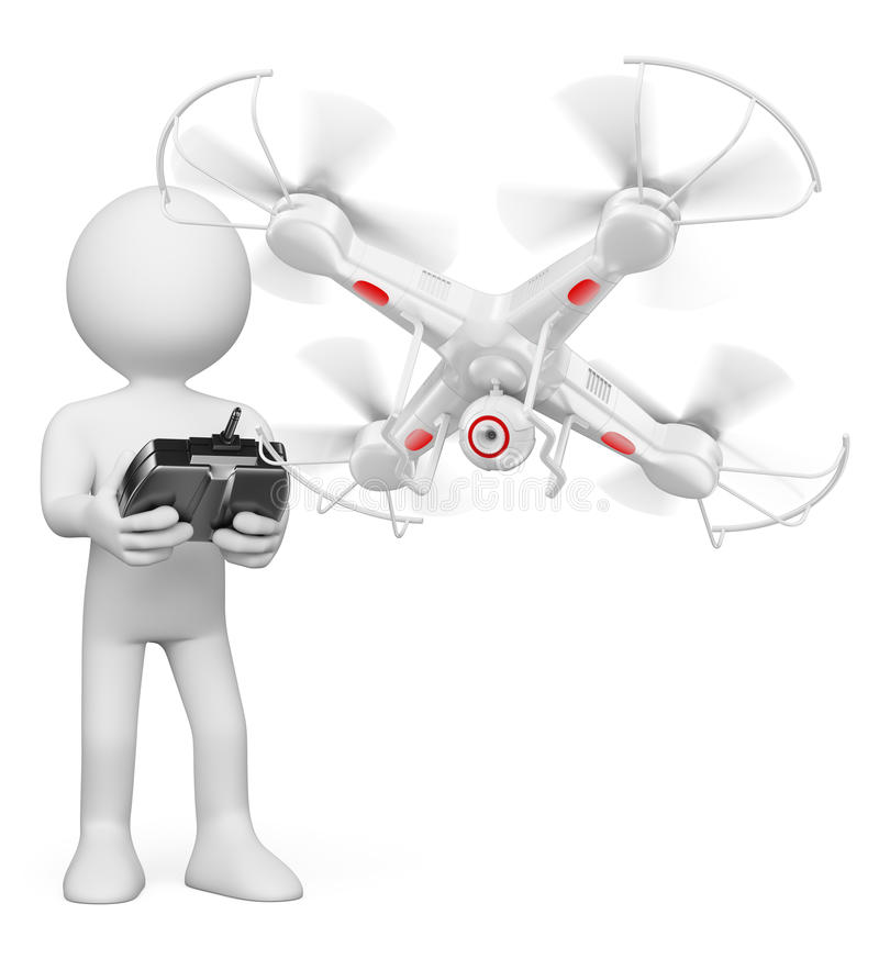 3D white people. Man flying a drone with camera. 3d white people. Man flying a white drone with camera. White background