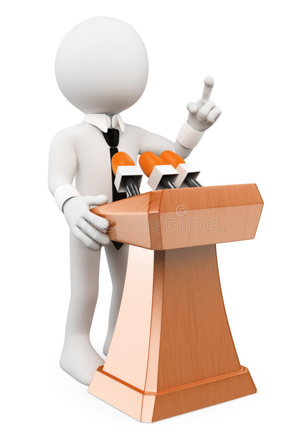 3D white people. Man giving a conference vector illustration