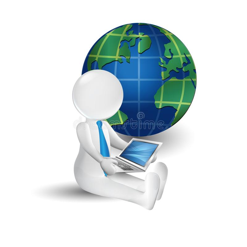 3d white people man with laptop and world map icon logo stock vector download 3d white people man with laptop and world map icon logo stock vector illustration gumiabroncs Gallery