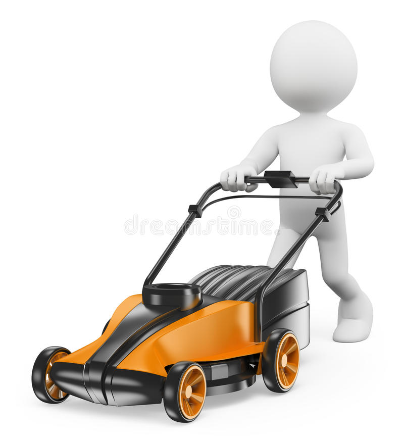 3D white people. Man with a lawn mower vector illustration