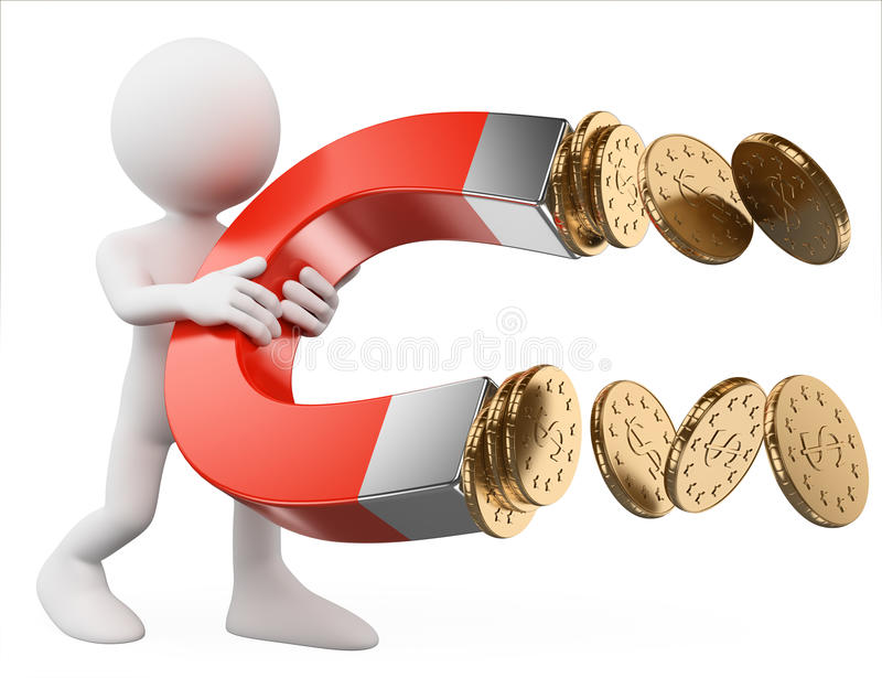 3D white people. Man with a magnet attracting money royalty free illustration