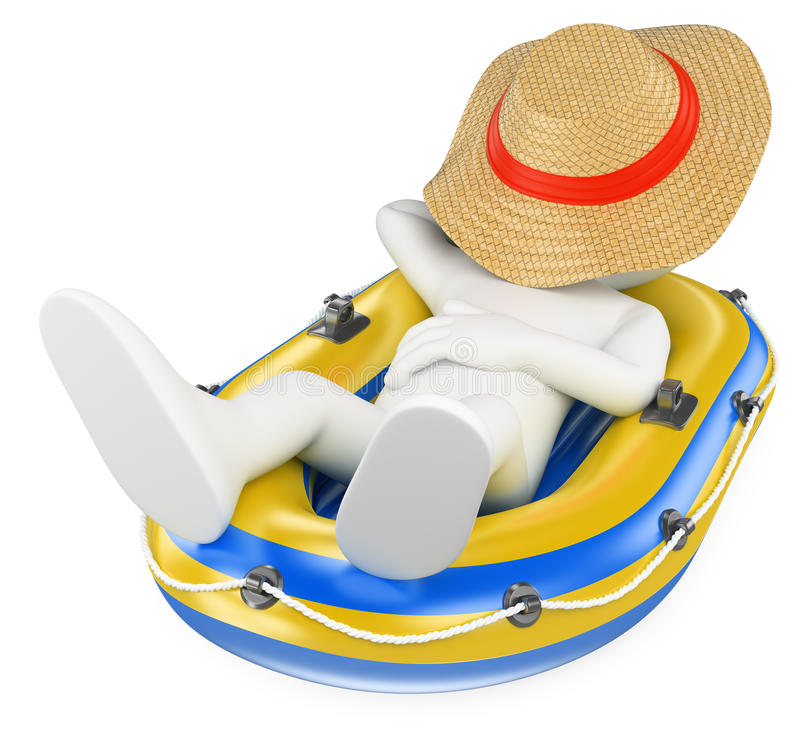 3D white people. Man napping in an inflatable boat stock illustration