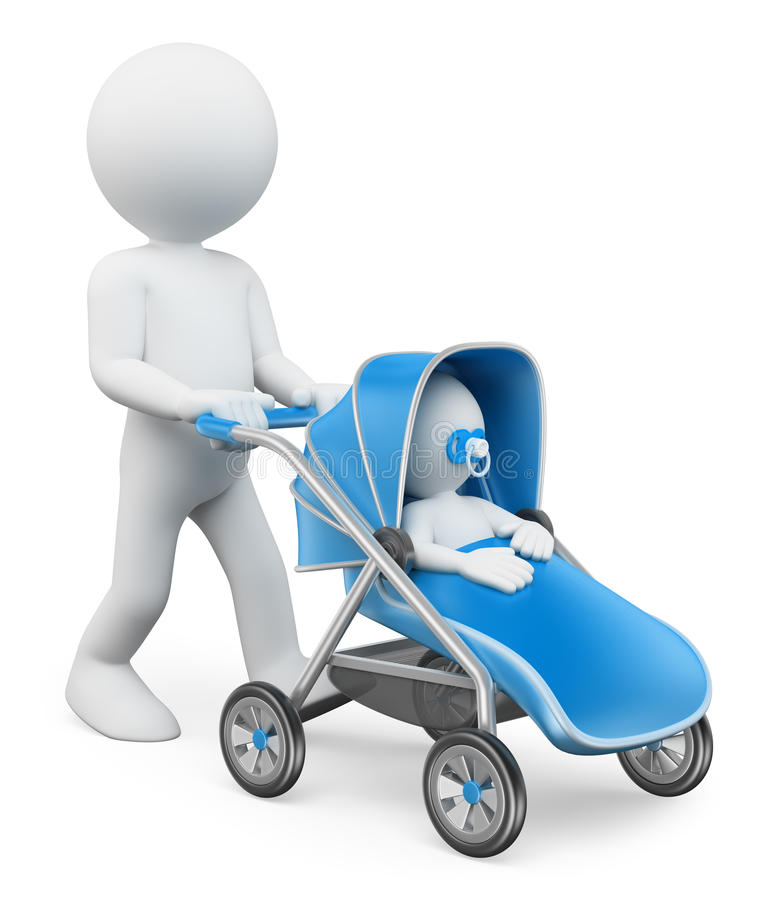 3D white people. Man pushing a baby stroller. White background royalty free illustration
