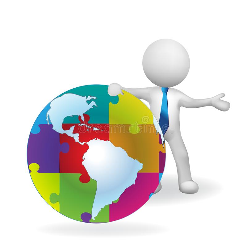 3D white people man with a world globe puzzle. Business connections logo vector icon logotype background image template vector illustration