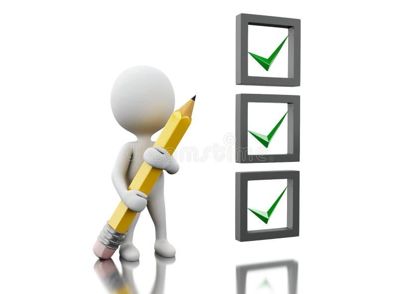 3d White people marking ticks in checklist. 3d illustraton. White people with pen marking ticks in checklist. Isolated white background stock illustration
