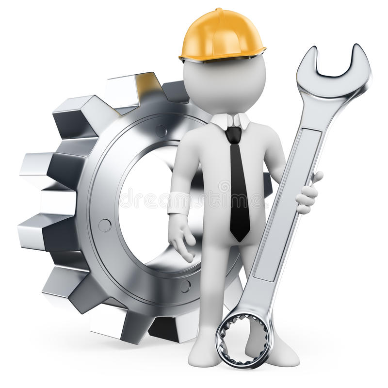 3D white people. Mechanical Engineer stock illustration