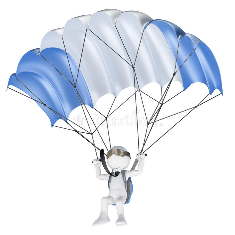 3D white people. Minimize financial risks concept. Businessman flying with a parachute. Isolated white background royalty free illustration