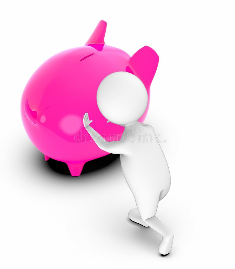 3d white people moving a piggy bank royalty free illustration