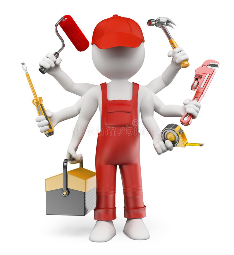 3D white people. Multitasking handyman. With screwdriver tool box tape measure hammer wrench pipes paint roller. White background stock illustration
