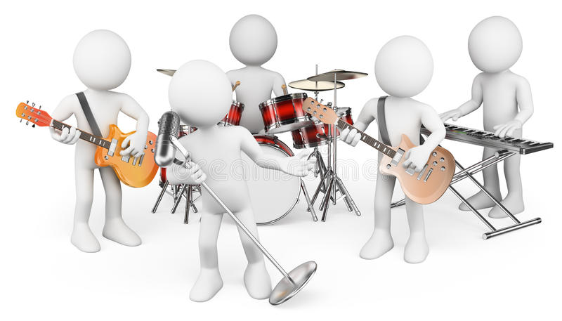 3D white people. Music group playing live. White background royalty free illustration