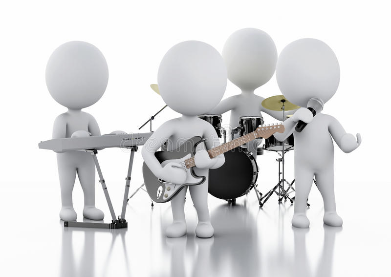 3d white people. Music group on white background. 3d renderer illustration. White people. Music group. white background stock illustration