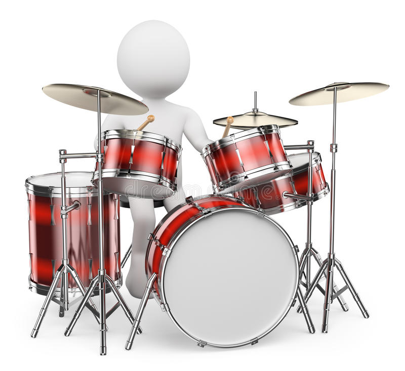 3D white people. Musician playing drums vector illustration