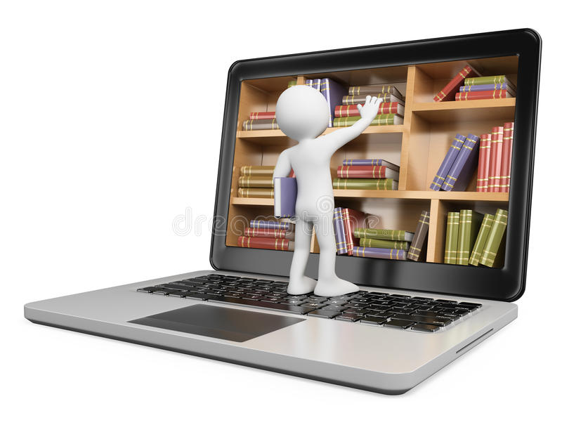 3D white people. New technologies. Digital Library. Concept. Laptop. White background