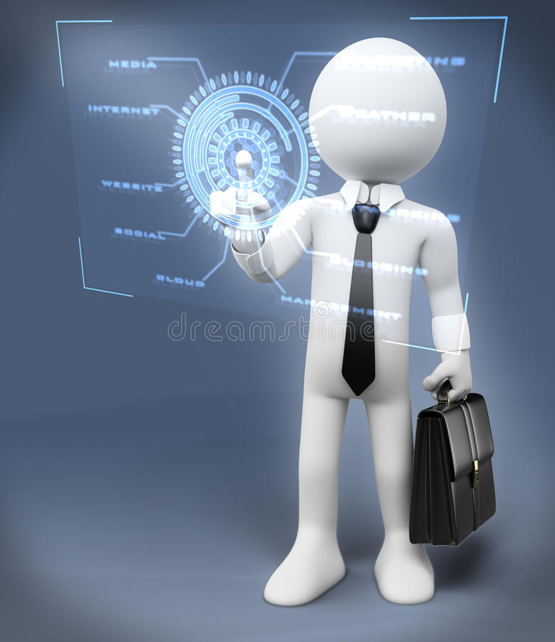 3D white people. New technologies. Virtual touch interface royalty free illustration