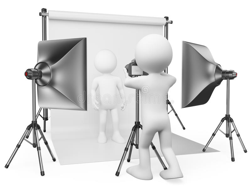 Download 3D White People. Photographer Studio Stock Illustration - Image: 41525951