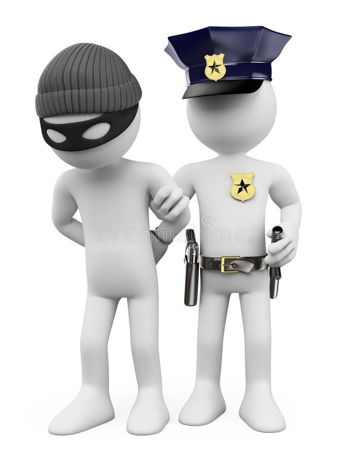 3D white people. Police and thief vector illustration