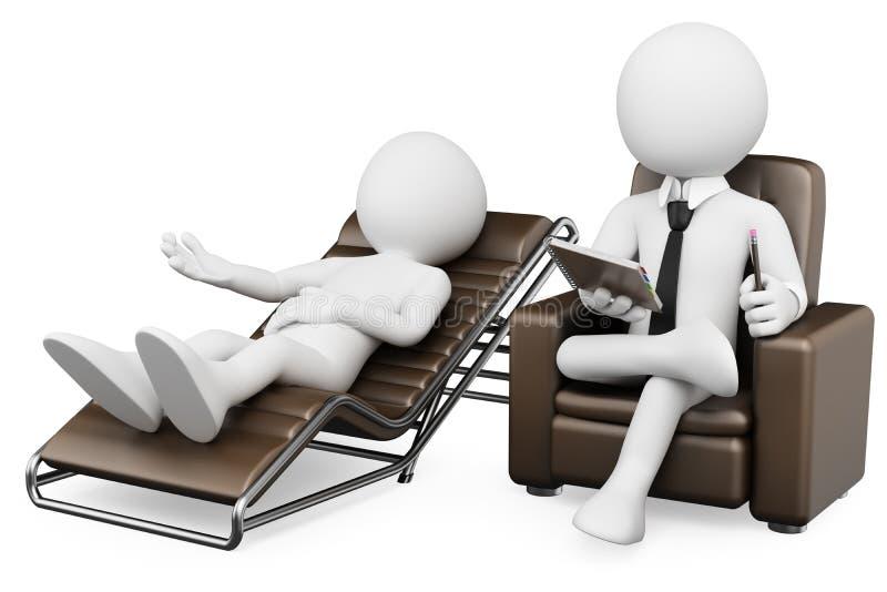 3D white people. Psychologist stock illustration