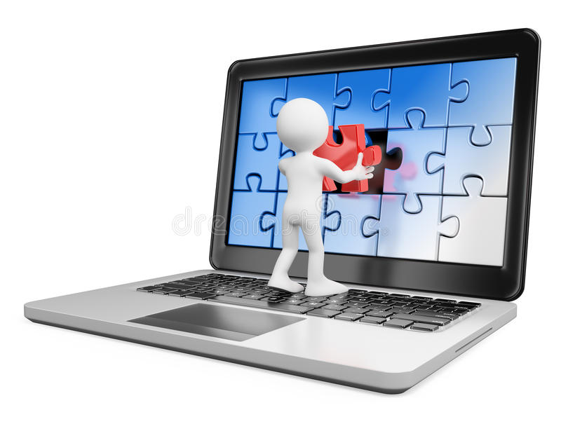 3D white people. Putting on a laptop a red piece missing vector illustration