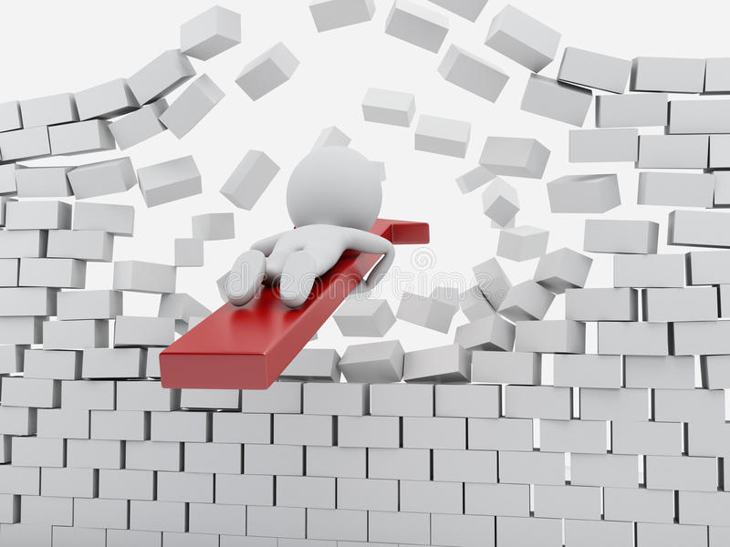 Download 3d White People With Red Arrow Breaking Brick Wall Stock Illustration