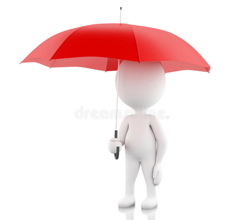 3d White people with a red umbrella. royalty free illustration