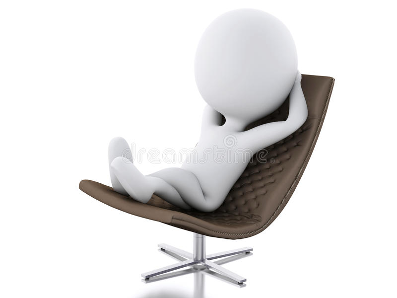 3d white people relax. white background vector illustration