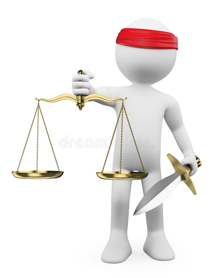 3D white people. Scales of justice stock illustration