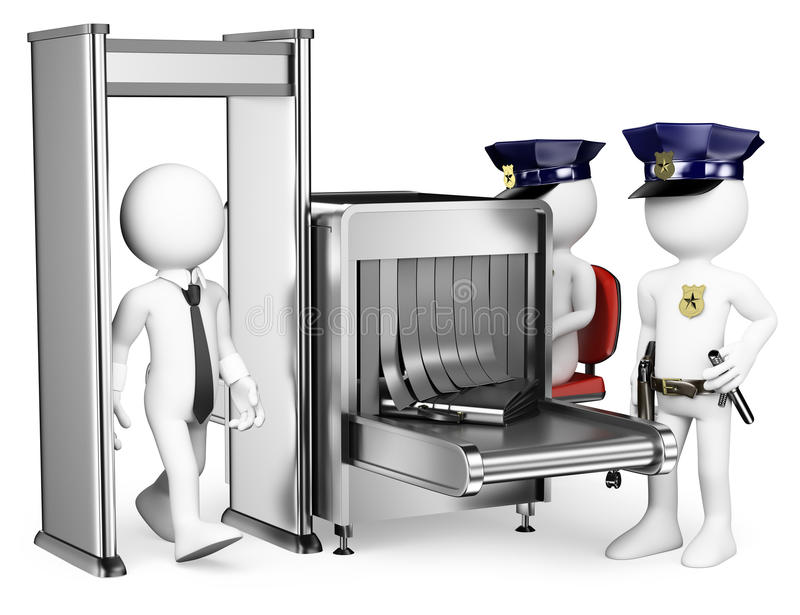 3D white people. Security control airport access. Metal detector vector illustration