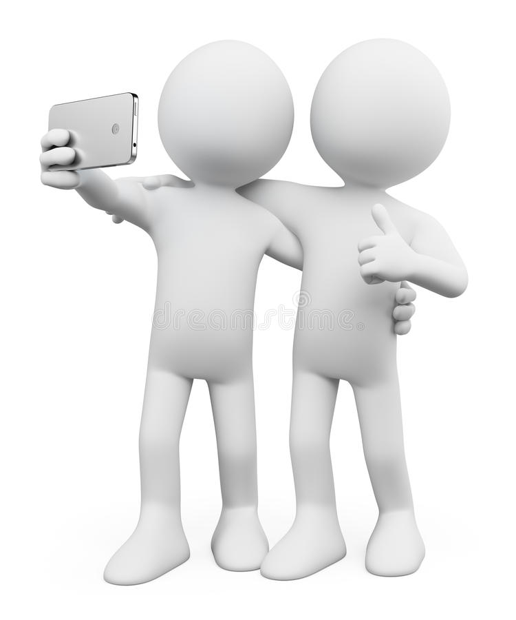 3D white people. Selfie with a friend vector illustration