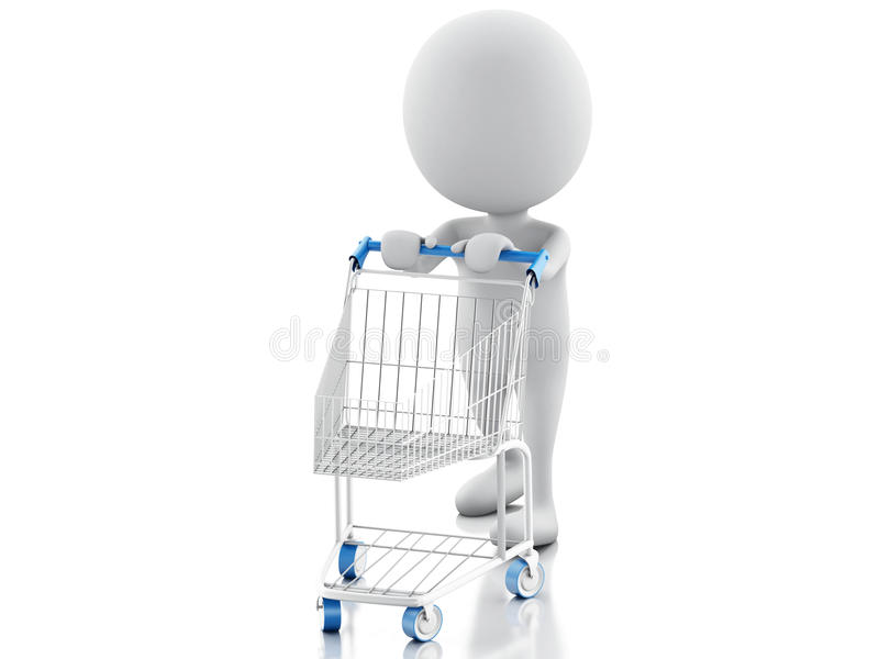 3d white people with shopping cart isolated on white background royalty free illustration