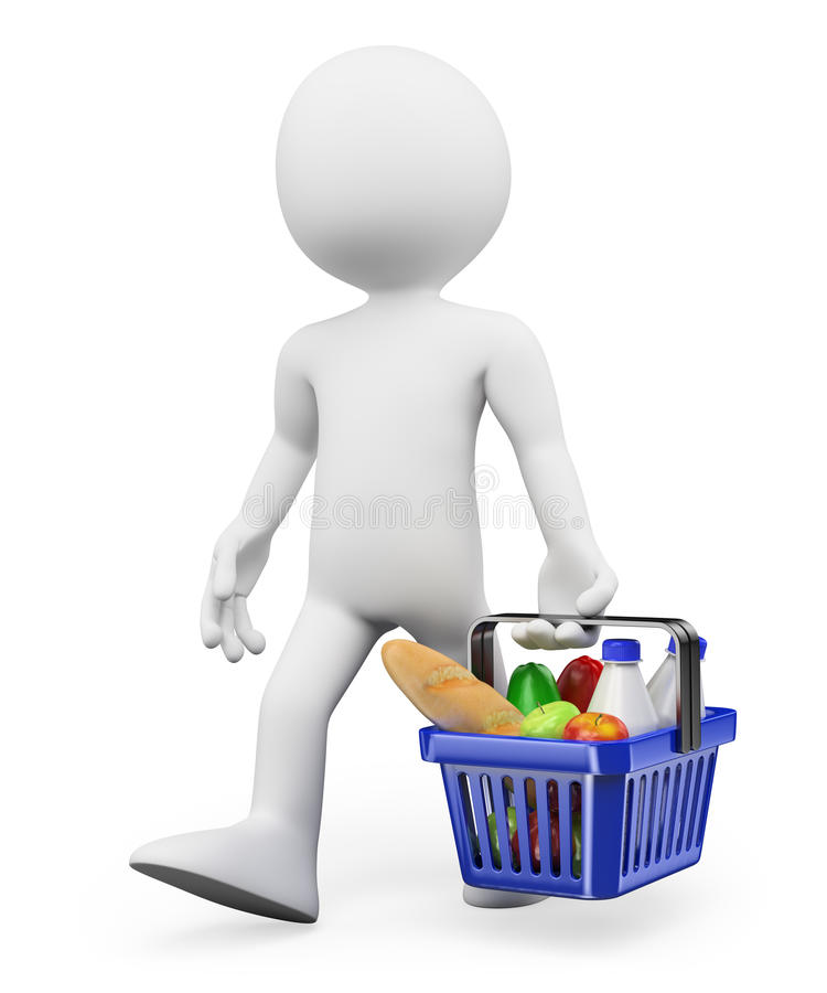 Download 3D White People. Shopping Healthy Food Stock Illustration - Illustration of mall, basket: 33431154