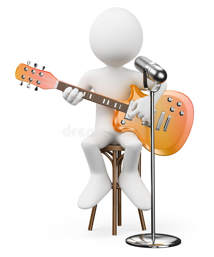3D white people. Singer guitarist. Rock and roll star. White background royalty free illustration