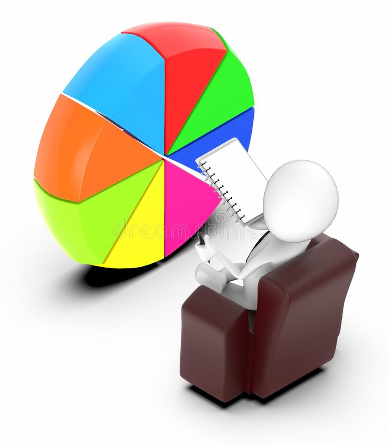 3d white people sitting on a chair holding a notepad and a pen and looking at a pie chart royalty free illustration