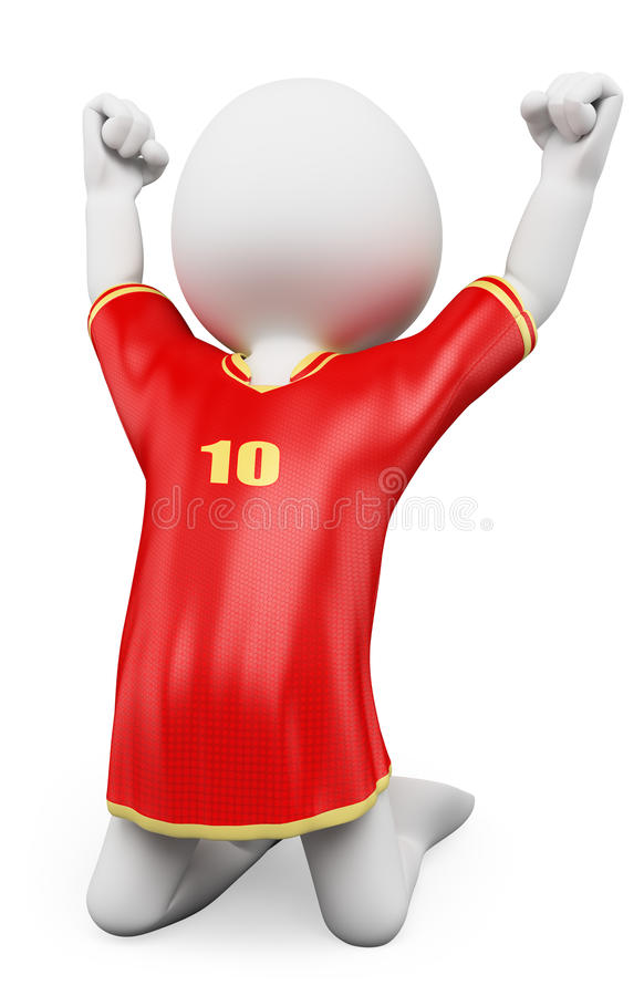 3D white people. Soccer player celebrating a goal stock illustration