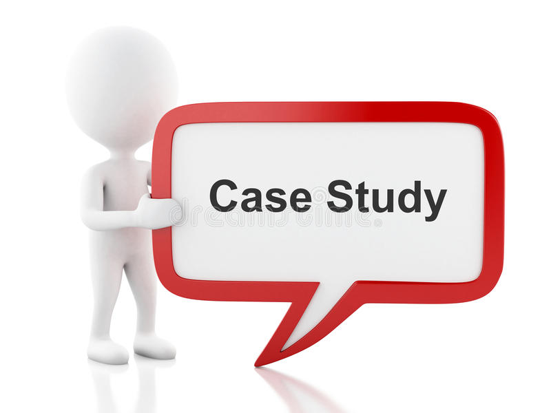 3d White people with speech bubble that says Case Study. vector illustration