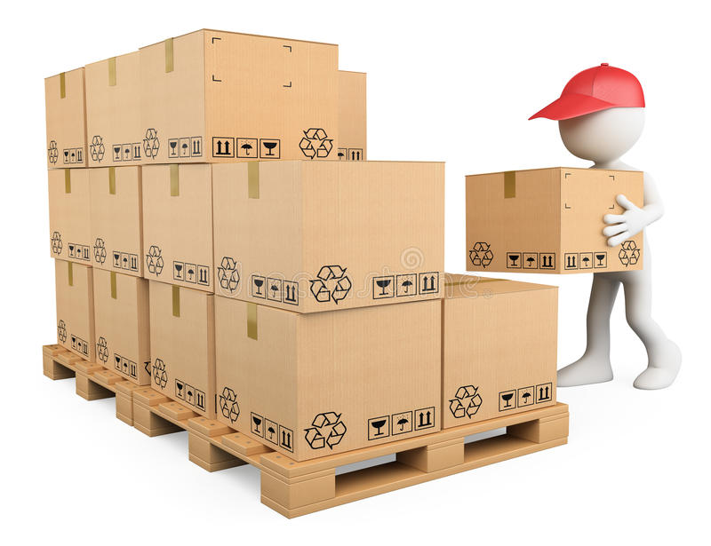 3D white people. Stock boy stacking boxes royalty free illustration