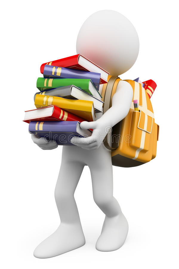 Download 3D White People. Student Carrying A Stack Of Books Stock Illustration - Image: 32655489