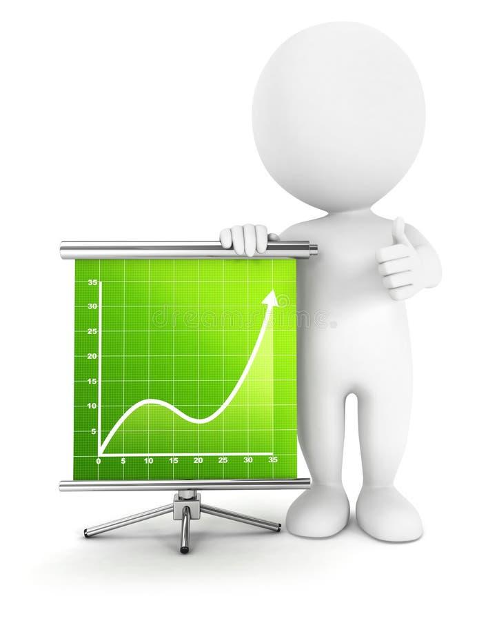 3d white people success diagram. White background, 3d image vector illustration