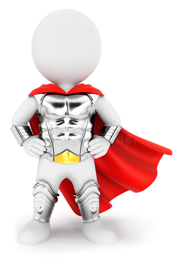 3d white people superhero with an armour. White background, 3d image royalty free illustration