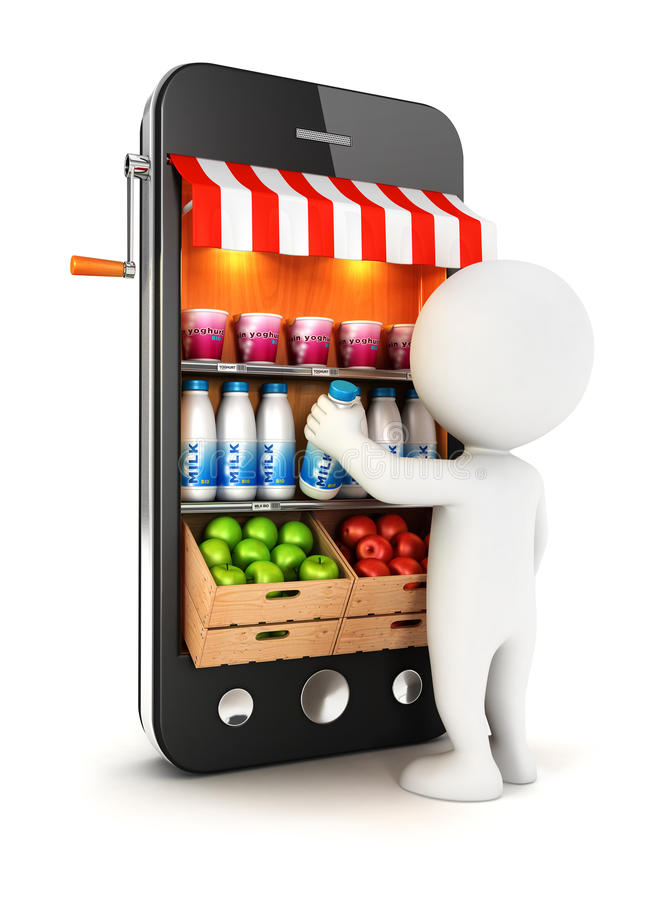 Download 3d White People At Supermarket Royalty Free Stock Images - Image: 35041679