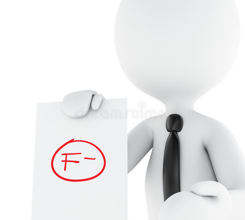 3d White people, teacher with f grade test. 3d illustration. White people, teacher with f grade test. Fail symbol, education concept. Isolated white background vector illustration