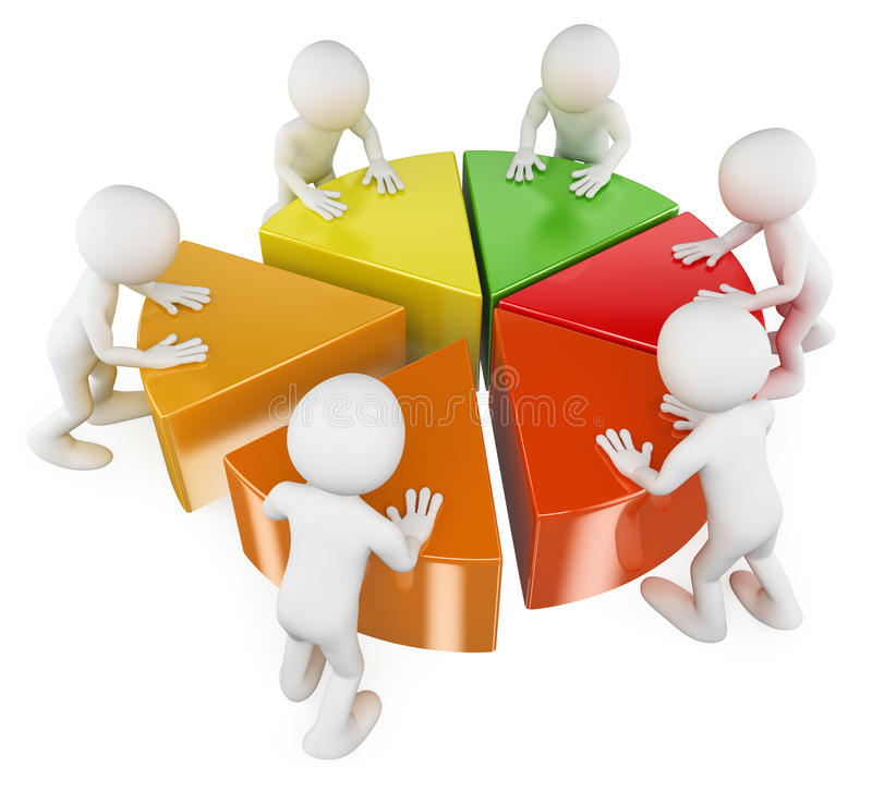 Download 3D White People. Team With Pie Chart Stock Illustration - Image: 32225927