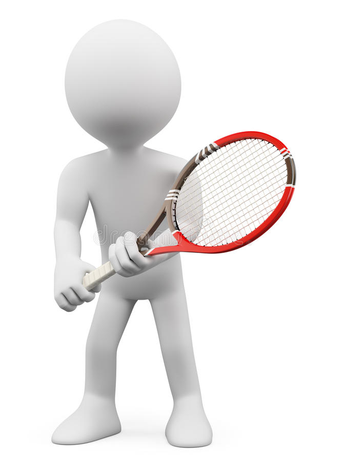 Download 3D White People. Tennis Player To Return Stock Illustration - Image: 32045234